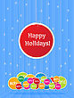 Happy Holiday Sign Over Several Sales Labels In Colors. stock illustration