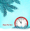 Illustration Happy New Year Background With Clock And Blue Fir Twigs - Vector