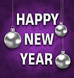 Illustration Happy New Year Card With Silver Balls On Purple Background. Greeting Postcard For Winter Holidays - Vector