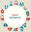 Illustration Health Background With Medical Elements Icons - Vector