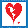 Illustration Heart In Frame Symbolizing American Map
