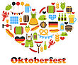 Illustration Heart Made In Oktoberfest Colorful Symbols, Isolated On White Background - Vector