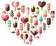 Illustration Heart Made In Set Different Colorful Ice Creams, Isolated On White Background - Vector