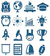 Illustration High School And College Education Minimal Icons, Isolated On White Background - Vector