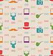 Illustration Hipster Seamless Texture, Pattern With Vintage Colors - Vector
