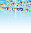 Illustration Holiday Background With Birthday Flags And Confetti - Vector