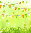 Illustration Holiday Background With Bunting Pennants In Irish Colors And Clovers For St. Patrick's Day - Vector