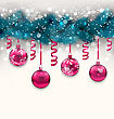 Illustration Holiday Background With Christmas Fir Branches And Glass Balls, Copy Space For Your Text - Vector