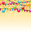Illustration Holiday Background With Colorful Balloons, Hanging Flags And Confetti - Vector