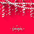 Illustration Holiday Background With Hanging Pennants For Carnival Party In Trendy Flat Style - Vector