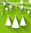 Illustration Holiday Background With Party Hats, Balloons, Confetti, And Hanging Flags - Vector
