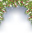 Illustration Holiday Decoration With Fir Branches And Holly Berries, Copy Space For Your Text - Vector