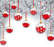 Illustration Holiday Snowing Background With Silver Fir Branches And Red Christmas Balls - Vector