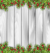 Illustration Holiday Wooden Background With Fir Branches And Berries, Copy Space For Your Text - Vector