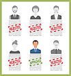 Illustration Human Resource And Resume, Flat Simple Icons - Vector stock illustration