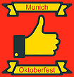 Illustration Icon Of Thumb Up For Oktoberfest Party, Traditional Colors Of Germany Flag - Vector