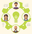 Illustration Idea Of Teamwork And Success, Business People Enclosed In Cogwheel - Vector