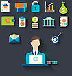 Illustration Infographic Concepts Of Businessman With Business And Finance Flat Icons - Vector