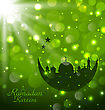 Illustration Islamic Glow Card For Ramadan Kareem - Vector
