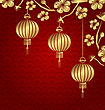 Illustration Japanese Or Chinese Golden Background With Lanterns And Sakura - Vector