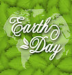 Illustration Leaves Texture Background For Earth Day Holiday, Lettering Text. Typographic Elements - Vector