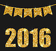 Illustration Light Background With Golden Dust And Pennants For Happy New Year 2016 - Vector