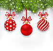 Illustration Light Wallpaper With Fir Twigs And Red Glassy Balls For Happy Winter Holidays - Vector