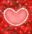 Illustration Lighten Background With Heart Made In Pearls For Valentine Day, Copy Space For Your Text - Vector