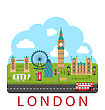 Illustration London, England. Urban Background. Concept Of Travel And Tourism Banner - Vector