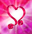Illustration Looping Pink Ribbon In Form Heart For Happy Valentines Day On Lighten Background - Vector