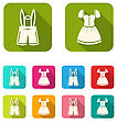 Illustration Male And Female National Bavarian Costumes With Long Shadows - Vector