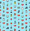 Illustration Medical Seamless Pattern, Flat Simple Colorful Icons - Vector stock illustration