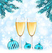 Illustration Merry Christmas Background With Glasses Of Champagne, Fir Branches And Balls - Vector