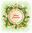 Illustration Merry Christmas Card With Traditional Decoration - Vector stock illustration