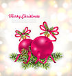 Illustration Merry Christmas Celebration Card With Glass Balls And Fir Branches - Vector