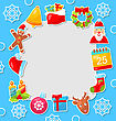 Xmas Illustration Merry Christmas Celebration Card With Traditional Elements - Vector stock illustration
