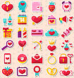 Illustration Modern Flat Design Icons For Happy Valentin's Day, Collection Holiday Romantic Elements - Vector