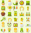 Illustration Modern Flat Design Icons For Saint Patrick's Day, Collection Holiday Irish Elements - Vector