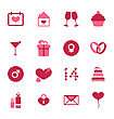 Illustration Modern Flat Icons For Valentines Day, Design Elements, Isolated On White Background - Vector
