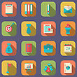 Illustration Modern Flat Icons Of Web Design Objects, Business, Office And Marketing Items, Long Shadow Style - Vector