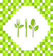 Illustration Mosaic Background With Symbol Of Vegetarian Food - Vector