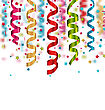 Illustration Multicolored Paper Serpentine And Confetti For Holiday Background - Vector