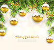 Illustration Natural Christmas Background With Fir Twigs And Glass Balls, Holiday Wallpaper - Vector