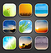 Illustration Natural Landscapes For The App Icons - Vector