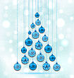 Illustration New Year Abstract Tree Made In Hanging Balls, Glowing Background - Vector