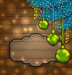 Illustration New Year Label With Balls And Fir Twigs On Wooden Texture With Light - Vector