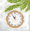 Illustration New Year Midnight Background With Clock And Fir Twigs - Vector