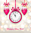 Illustration New Year Midnight Glowing Background With Clock And Christmas Balls - Vector