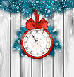 Illustration New Year Midnight Shimmering Background With Clock And Fir Branches - Vector