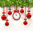 Illustration New Year Shimmering Background With Clock, Fir Branches And Glass Balls - Vector
